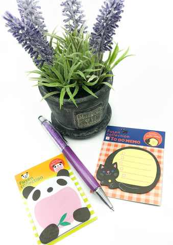 mini fusen kawaii cat or panda sticky memo pad cute stationery