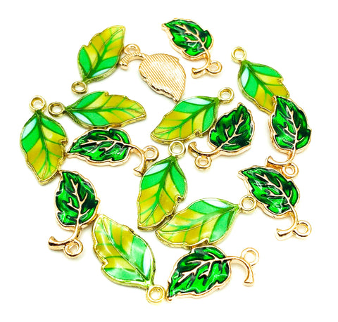 enamel green leaves leaf charm charms striped stripy shades uk cute kawaii craft supplies gold tone metal