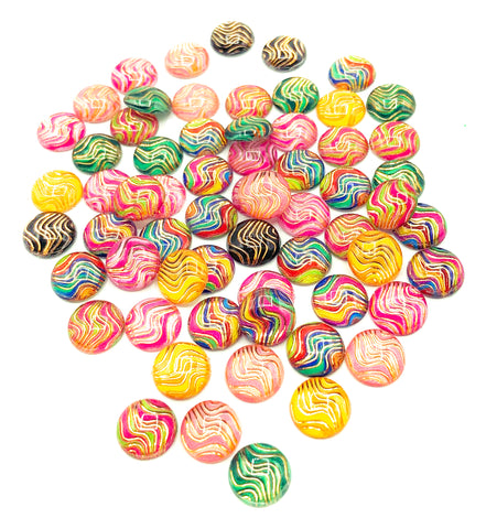 10mm acrylic round cabochons embellishments wave wavy lines patterns abstract uk cute craft supplies crafts fb fbs