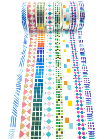 narrow washi tape tapes 8mm wide patterns plaid square grid lines geometric tapes uk stationery
