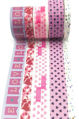 valentine's day romance love heart washi tape bundle uk cute stationery bundles pink lilac