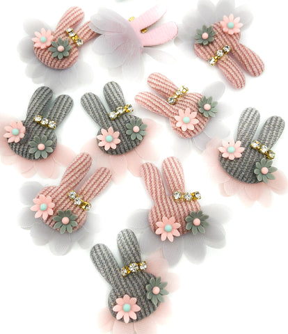 bunny and tutu net cord fabric applique sew on patch rhinestones flowers