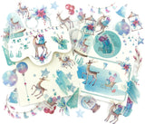 winter deer festive translucent tracing paper sticker flakes pack of 40