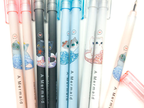 Mermaid Cat Purrmaid Erasable Black Fine Line Pen