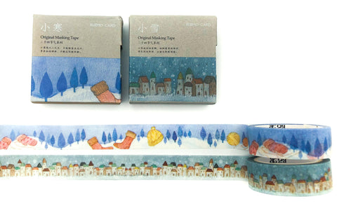 festive christmas washi tape boxed tapes mittens snow town uk cute stationery planner supplies kawaii 7m