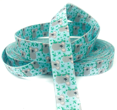 kawaii koala turquoise blue 22mm grosgrain ribbon one yard ribbons koalas