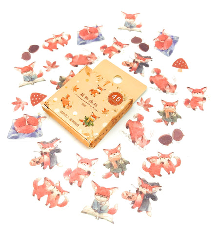 woodland fox foxes sticker flakes stickers cute kawaii animals translucent 45 uk stationery