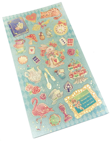 fairytale gold foil foiled flat sticker pack stickers fairy tale alice in wonderland