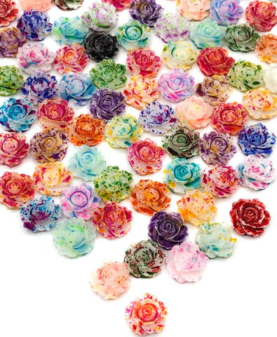 9mm paint spatter ombre roses flatbacks flower fb resin flowers