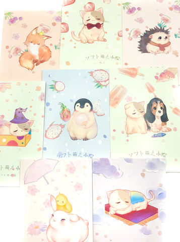 pastel cute kawaii animals postcard postcards food fruit fox penguin cat dog uk stationery store