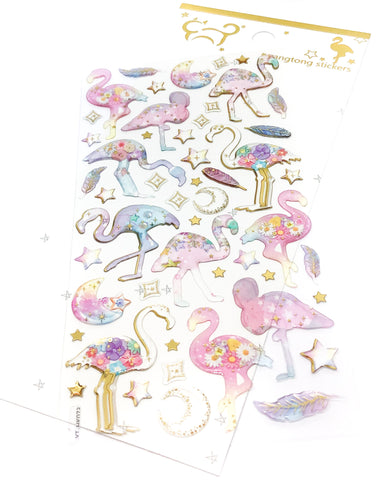 crystal puffy sticker stickers transparent pack gold foil foiled flamingo flamingos floral