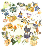 halloween witch pumpkin translucent sticker flake pack of 40 stickers planner matte