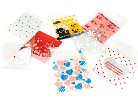 cellophane cello bags mini small packaging supplies uk halloween christmas hearts cherries pink