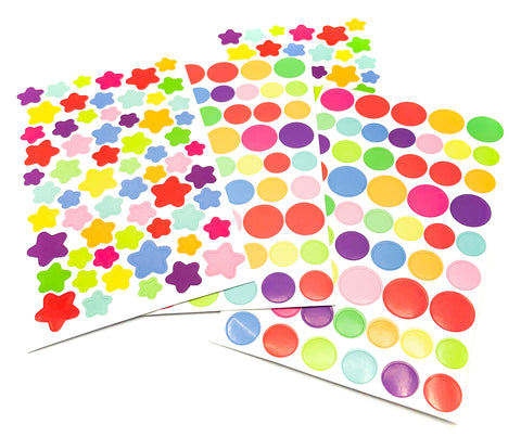 mini circle dot spot or star rainbow sticker stickers sheet circles stars uk cute stationery