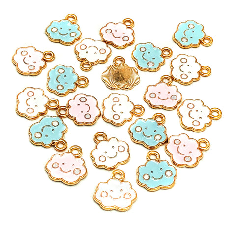 cute happy cloud enamel gold tone charm uk kawaii cute charms craft supplies clouds white pink blue
