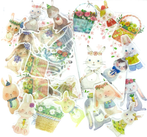 bunnies and baskets translucent sticker flakes pack of 40 stickers matte rabbits