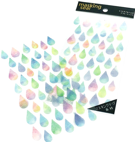 pastel watercolour raindrops rain drop clear stickers pack sticker sheet