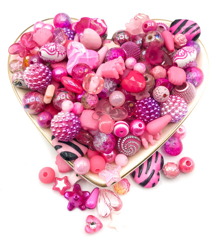 beads bundle pink pinks wood glass ceramic acrylic 40