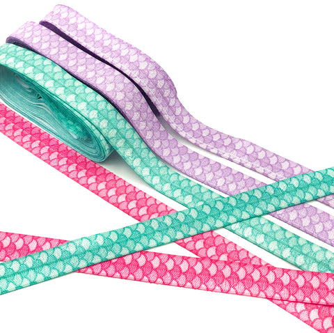 mermaid scale scales fold over elastic ribbon pretty ribbons lilac turquoise pink uk cute craft supplies foe
