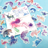 watercolour water colour animals wildlife translucent sticker flake flakes stickers cute kawaii planner stationery uk