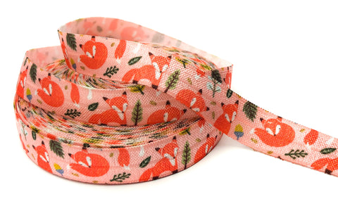 fox foxes on pink woodland elastic foe ribbon one yard