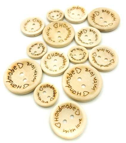 handmade with love wood wooden buttons craft button hand made 15mm 20mm 25mm uk supplies