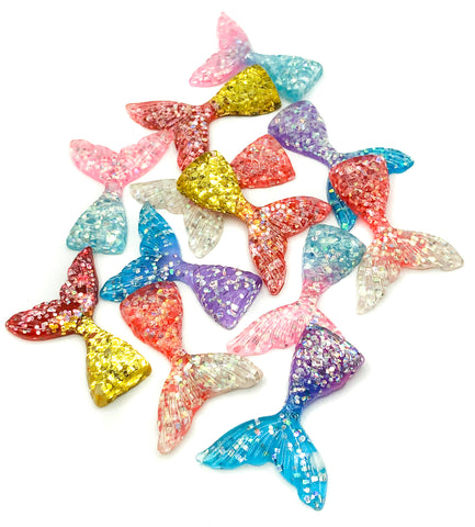 glitter resin sparkly mermaid tail tails fb fbs flat back 44mm uk craft supplies