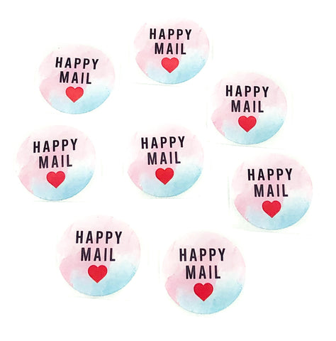 happy mail sticker stickers uk cute packaging seals 25mm round watercolour pink blue heart