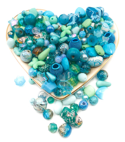 bead beads bundle teal turquoise acrylic glass wood 40 bundles