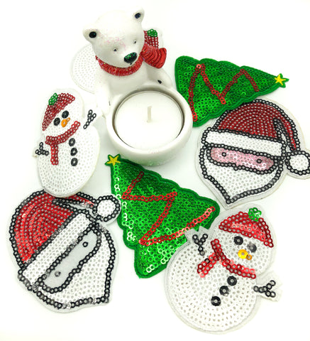 festive fabric sequin iron on patch patches christmas snowman tree santa father