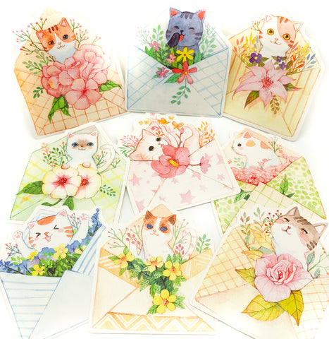 kawaii individual floral cat postcard postcards cute stationery envelope style pretty cats cards