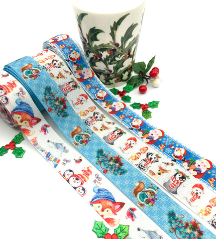 christmas blue grosgrain ribbon festive ribbons 25mm kawaii