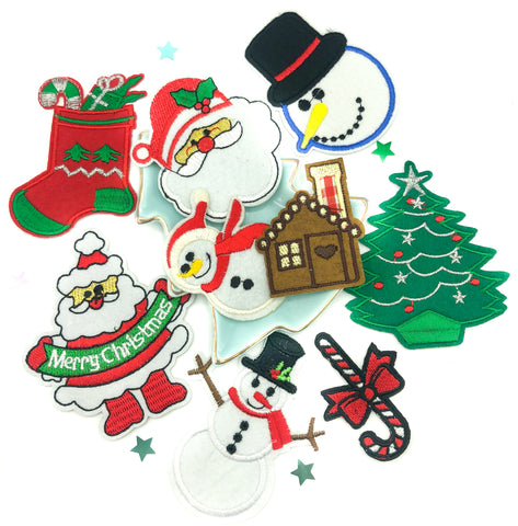 christmas applique patch iron on patches festive kawaii appliques