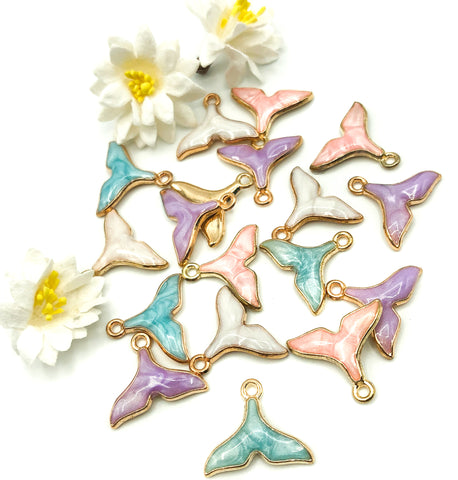 17mm enamel mermaid tail charm charms tails pink lilac turquoise cream