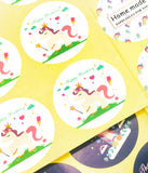 Unicorn Round Stickers Sheet of 12 -Happy Birthday Thank You or Home Made