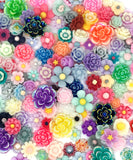 resin flower flat back backs bundle lucky dip glitter mix flowers