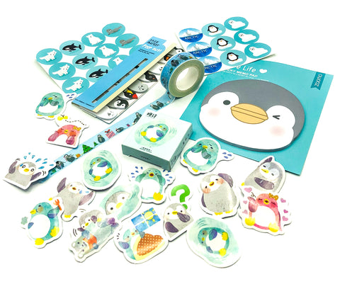 penguin stationery bundle cute kawaii penguins uk gift bundles stickers washi  memo index tabs sticker flakes
