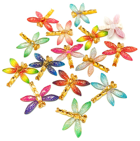 dragonfly dragonflies fb acrylic flat back flatbacks gold sparkly craft supplies uk crafts