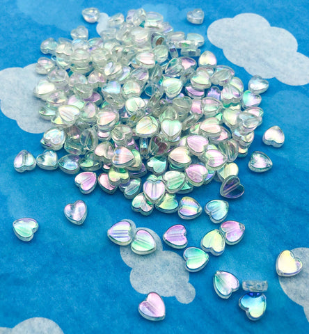 kawaii cute heart bead beads clear iridescent ab shimmery 8mm acrylic plastic hearts uk craft supplies pretty