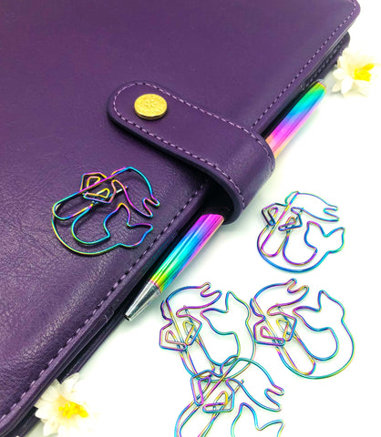 jumbo rainbow metal mermaid paper clip planner clips mermaids