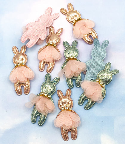 Metallic Ballet Bunny Sew-On Patch 51mm