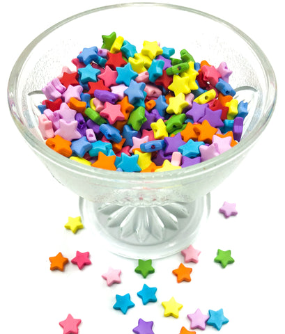 mini 9mm star beads acrylic bright colours bead stars 10mm cute kawaii uk craft supplies bundle bundles