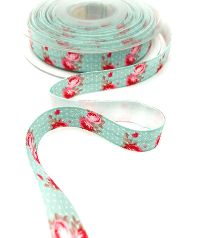 pink and turquoise blue shabby chic roses polka dot elastic ribbon foe ribbons uk craft supplies rose