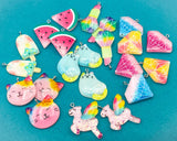kawaii resin glitter large charm charms pendant pendants cat lolly unicorn gem crystal lipstick watermelon cute uk craft supplies