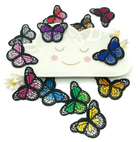 44mm butterfly iron on appliqué patch colourful butterflies