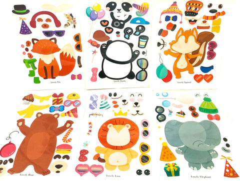 build you own make activity sticker stickers for kids craft uk stationery  kawaii animal animals elephant lion giraffe panda squirrel fox bear