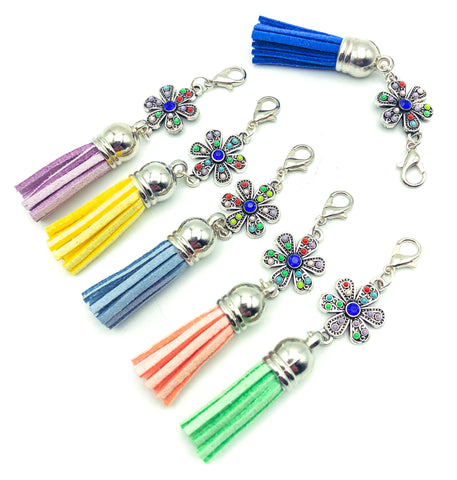 floral flower planner clip charm charms clips tassel blue silver metal flowers uk planning accessories