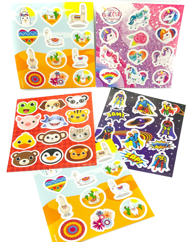 cute child's kids sticker sheet animals super heroes llamas alpacas unicorns uk stationery