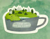 dinosaur crocodile in mug cute teacup postcard post card cards uk kawaii stationery store pretty animal animals