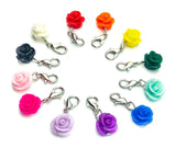 planner charm clip charms clips uk kawaii stationery journaling accessories rose roses rosebud resin flowers flower stitch marker markers
